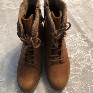 Faux suede hiking boots.